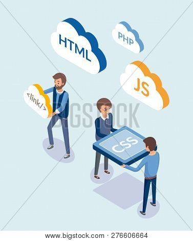 Web Development, People With Coding Languages Vector. Programmers With Clouds, Javascript And Html,