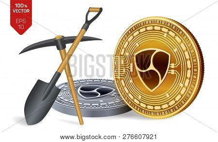 Nem Mining Concept. 3d Isometric Physical Bit Coin With Pickaxe And Shovel. Digital Currency. Crypto
