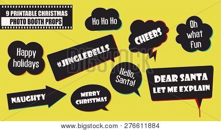 Set Of Photo Booth Props Vector Illustration. Christmas Party Collection Of Quotes And Jokes In Spee