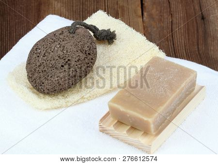 Handmade Bar Of Soap, Pumice Stone And Washcloth. Nettle And Olive Soap, Facecloth And Pumice Stone