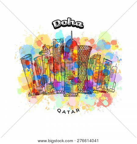 Doha Qatar Colorful Skyline. Hand-drawn Vector Illustration. Famous Travel Destinations Series.