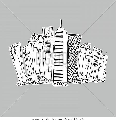 Doha Qatar Skyline Drawing. Hand-drawn Vector Illustration. Famous Travel Destinations Series.