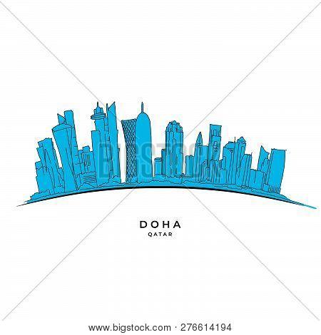 Doha Qatar Outline Sketch. Hand-drawn Vector Illustration. Famous Travel Destinations Series.
