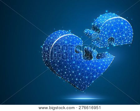 Heart Jigsaw Puzzle. Valentines Day Connecting People Hearts Concept. Neon Medicine Cardiology Healt
