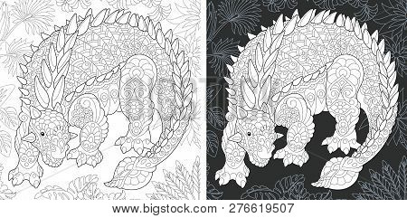 Coloring Page. Dinosaur Collection. Colouring Picture With Ankylosaurus Drawn In Zentangle Style.