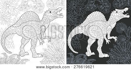 Coloring Page. Dinosaur Collection. Colouring Picture With Spinosaurus Drawn In Zentangle Style.