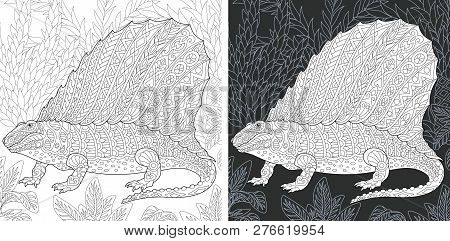 Coloring Page. Dinosaur Collection. Colouring Picture With Dimetrodon Drawn In Zentangle Style.