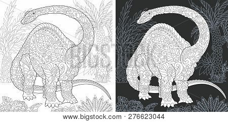 Coloring Page. Dinosaur Collection. Colouring Picture With Brontosaurus Drawn In Zentangle Style.