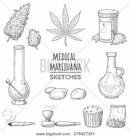 Medical Marijuana Hand Drawn Sketches. Marijuana Buds, Cannabis Leaf, Weed Joint, Bong, Oil, Smoking