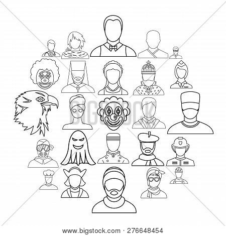 Personification icons set. Outline set of 25 personification icons for web isolated on white background poster