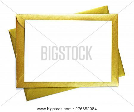 Golden Envelopes And White Card With Copy Space, Isolated On White Background. Shiny Gold Envelopes,