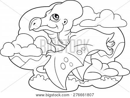 Cartoon Cute Dinosaur Pterodactyl, Coloring Book, Funny Illustration