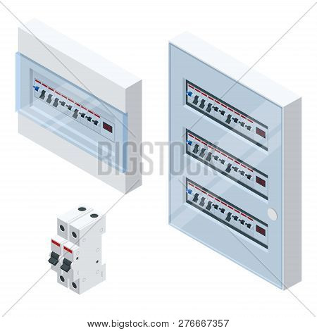 Isometric Electrical Panel With Fuses And Contactors. Automatic Circuit Breakers, Isolated On White