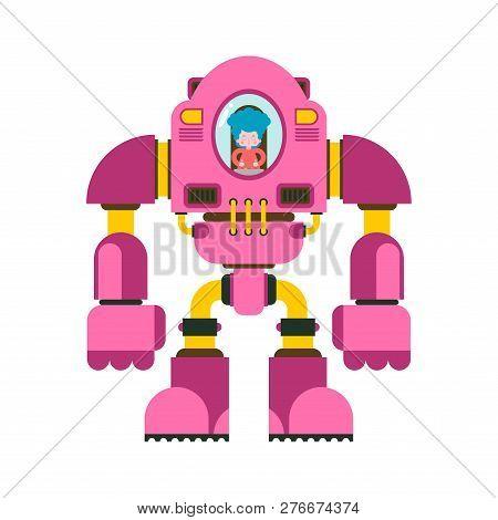 Children Fighting Robot. Little Girl Exoskeleton. Mechanical Technology Robotic Skeleton. Iron Suit
