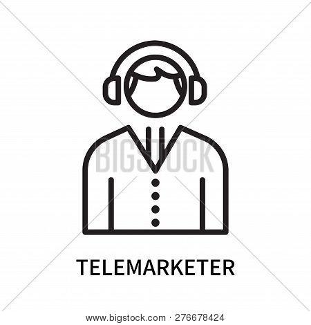 Telemarketer Icon Isolated On White Background. Telemarketer Icon Simple Sign. Telemarketer Icon Tre