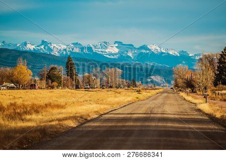 Durango Colorado Us 550 Highway. Scenic Sunset And The Mountains Vista. United States Of America.