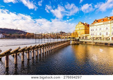 Prague, Czech Republic: Look To Charles Bridge And Prague Castle In Far. Sunny Winter Day Near The V