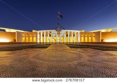 11 July 2010: Canberra, Australia - Parliament House, Canberra, Australia, Illuminated At Twilight.