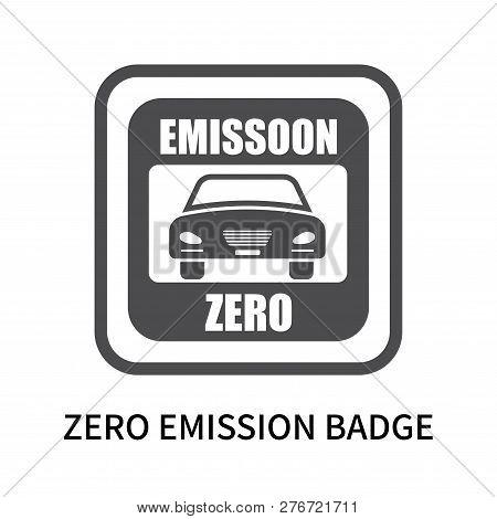 Zero Emission Badge Icon Isolated On White Background. Zero Emission Badge Icon Simple Sign. Zero Em