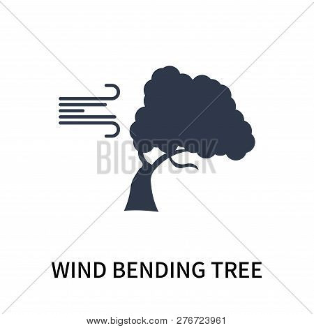 Wind Bending Tree Icon Isolated On White Background. Wind Bending Tree Icon Simple Sign. Wind Bendin