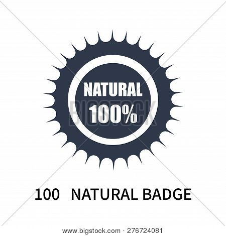 100   Natural Badge Icon Isolated On White Background. 100   Natural Badge Icon Simple Sign. 100   N