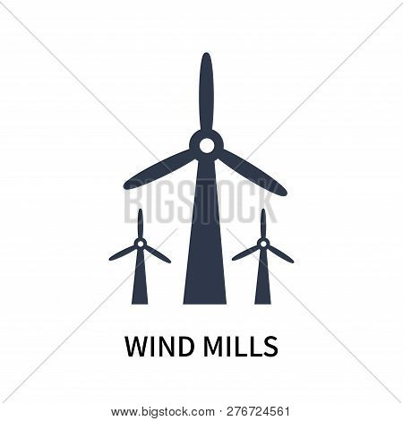 Wind Mills Icon Isolated On White Background. Wind Mills Icon Simple Sign. Wind Mills Icon Trendy An