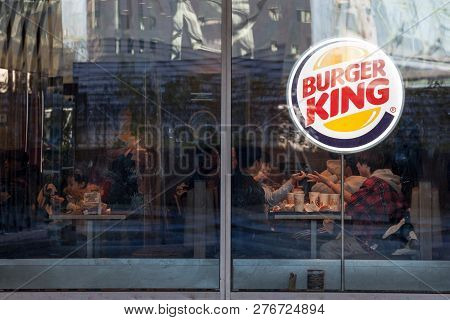 Montreal, Canada - November 4, 2018: Burger King Logo On Their Main Fast Food Restaurant In Montreal