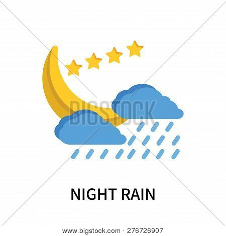 Night Rain Icon Isolated On White Background. Night Rain Icon Simple Sign. Night Rain Icon Trendy An