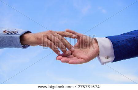 Startup Project Concept. Impulse For Cooperation Start Of Partnership. Hand Gesture Of Partnership.