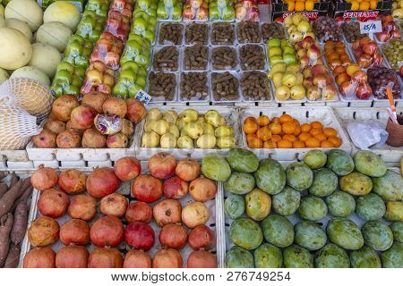Dubai, Uae - Oct 14, 2018: Fruit And Vegetable For Sale In A Market In Dubai