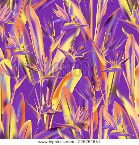 Tropical Crane Flower Vector Seamless Pattern. Bohemian Tropical Plant Fabric Print Design. South Af