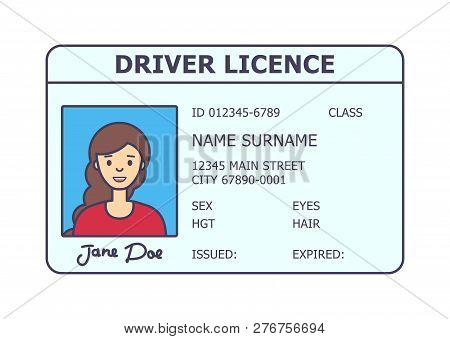 Car Driver Licence Identification. Driving Licence Plastic Card With Woman Photo. Flat Style Isolate