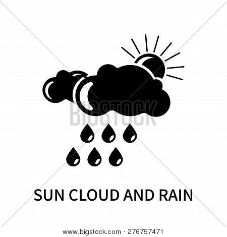 Sun Cloud And Rain Icon Isolated On White Background. Sun Cloud And Rain Icon Simple Sign. Sun Cloud