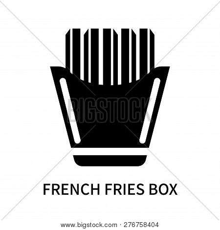 French Fries Box Icon Isolated On White Background. French Fries Box Icon Simple Sign. French Fries