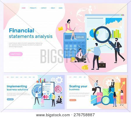 Financial Statements Analysis, Implementing Business Solutions Vector. Business Banners, Scaling You