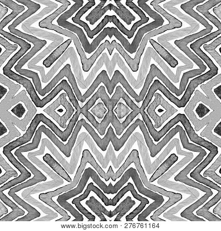 Black And White Geometric Watercolor. Creative Seamless Pattern. Hand Drawn Stripes. Brush Texture.