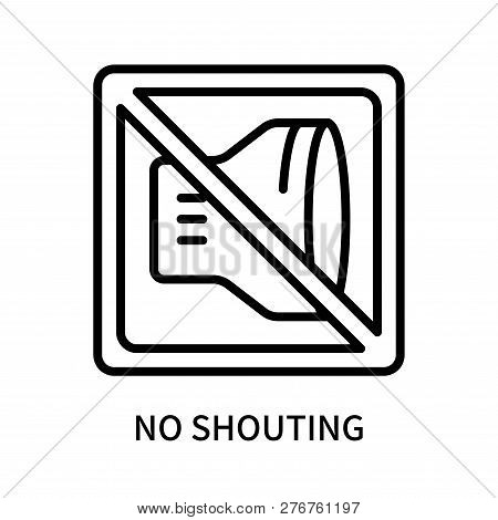 No Shouting Icon Isolated On White Background. No Shouting Icon Simple Sign. No Shouting Icon Trendy
