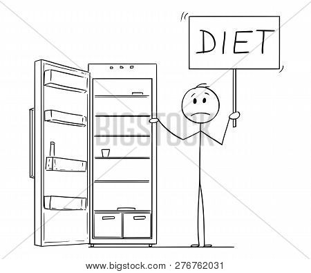 Cartoon Stick Drawing Conceptual Illustration Of Hungry And Depressed Man Holding Diet Sign And Empt
