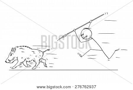 Cartoon Stick Drawing Conceptual Illustration Of Prehistoric Or Medieval Man Or Hunter Chasing And H