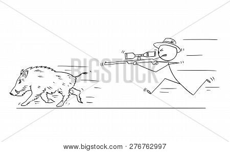 Cartoon Stick Drawing Conceptual Illustration Of Hunter With Scoped Rifle Hunting Wild Boar Or Swine