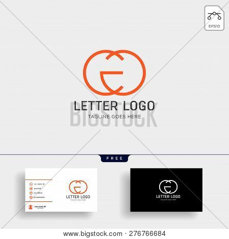 Letter Cg Initial Logo Template With Business Card - Vector