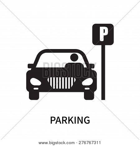 Parking Icon Isolated On White Background. Parking Icon Simple Sign. Parking Icon Trendy And Modern