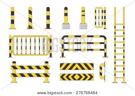 Guard Post Sentry Yellow And Black Collection, Icon Flat Column Bollard Set Vector Illustration