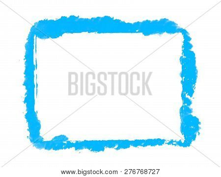 Sketch Of Hand Painted Blue Brush Frame