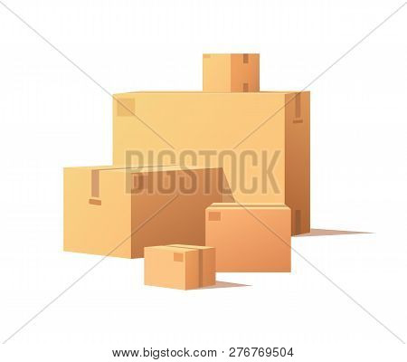 Cardboard Boxes Of Big And Small Size Isolated Vector. Fragile Packs, Closed Packages With Adhesive