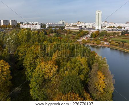 Pond In Victory Park In Autumn In Zelenograd Of Moscow, Russia