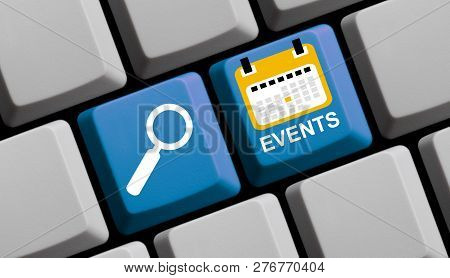 Blue Computer Keyboard With Magnifier Glass Showing Events