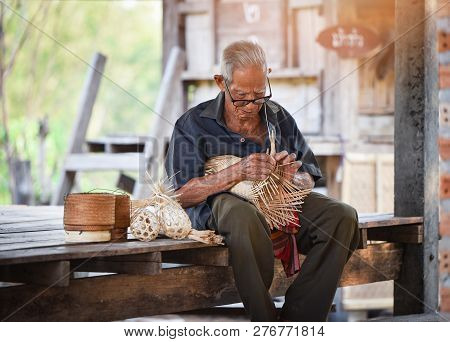 Asia Life Old Man Uncle Grandfather Working In Home Asia Old Man Living In The Countryside Of Life R