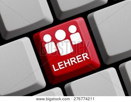 Red Computer Keyboard Showing Teacher In German Language