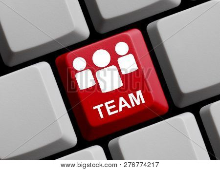 Red Computer Keyboard Showing Team With 3 People